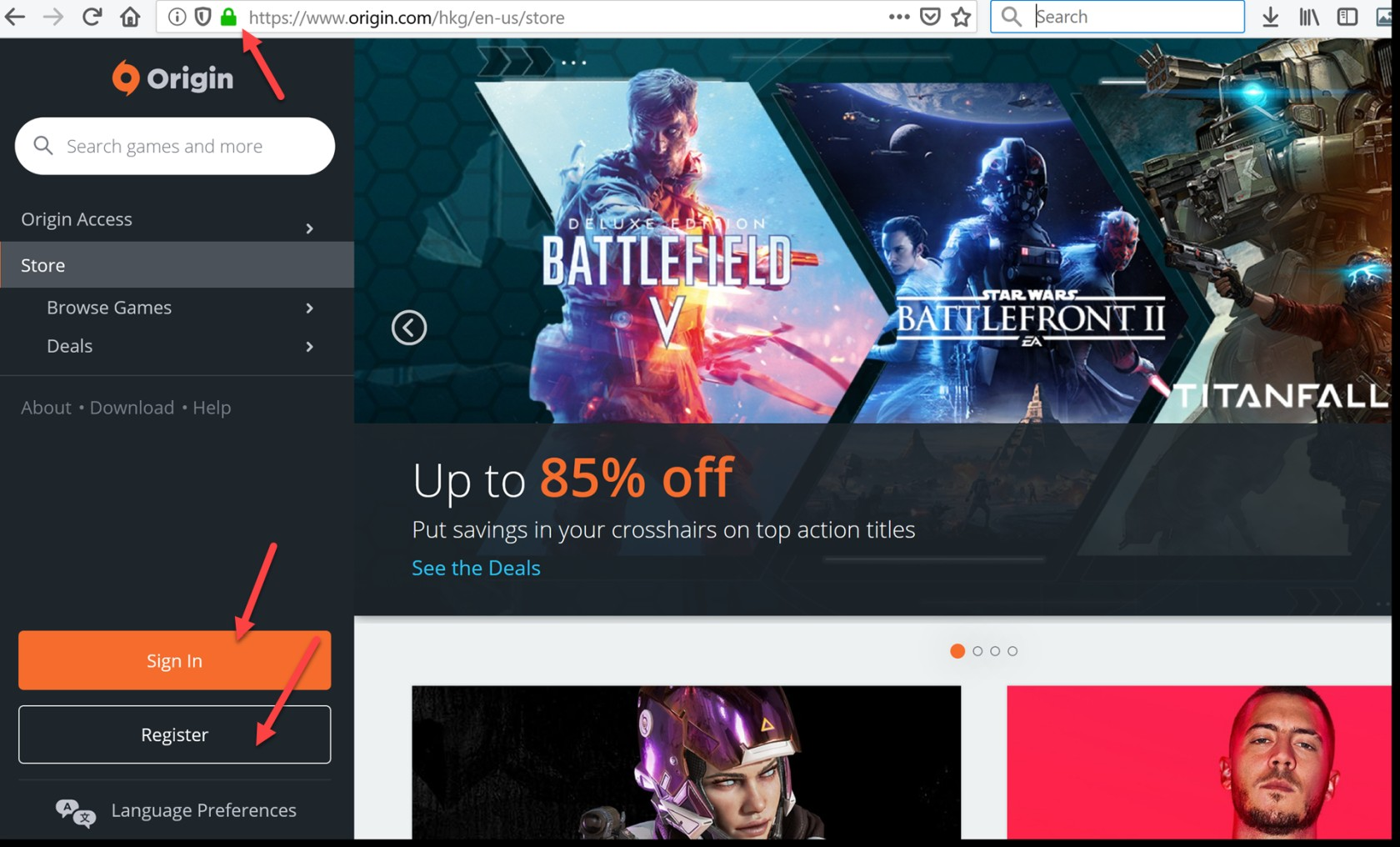 Origin website