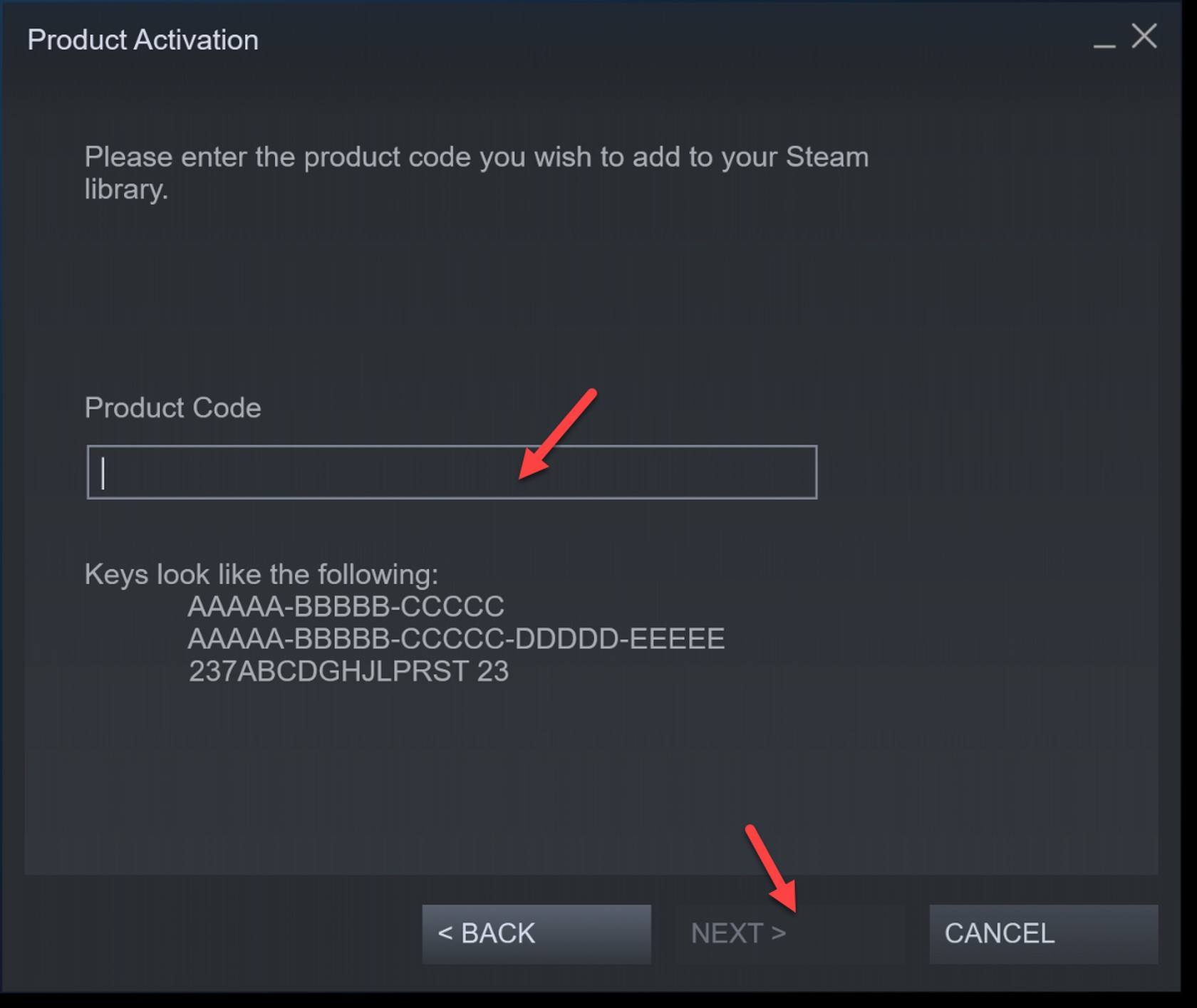 Product activation Steam